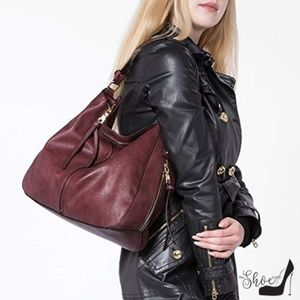 Cognac or Burgundy Large Hobo Shoulder Bag